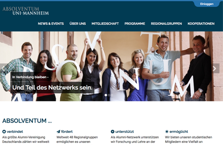 ABSOLVENTUM MANNHEIM, Screenshot der Website