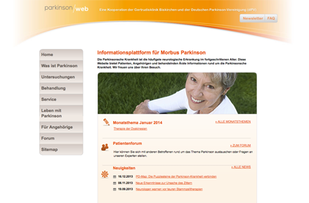 Expertenforum Parkinson-web.de, Screenshot der Website