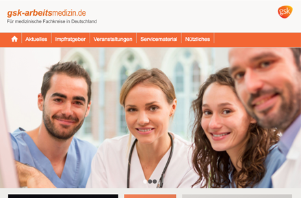 GSK Arbeitsmedizin, Screenshot der Website