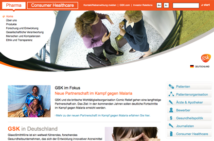 Glaxosmithkline, Screenshot der Website