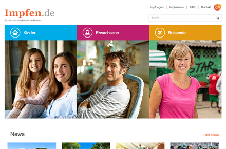 GSK impfen.de, Screenshot der Website