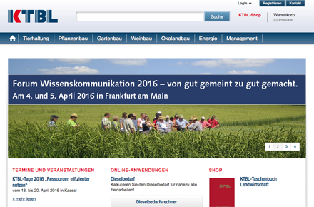 KTBL, Screenshot der Website