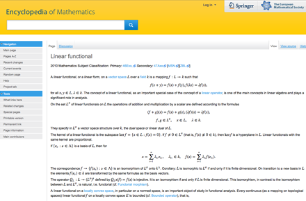 Springer Encyclopedia of Mathematics, Screenshot der Website